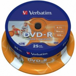 VERBATIM 43538 Verbatim DVD-Rcake box 25 4.7GB 16x do nadruku Wide