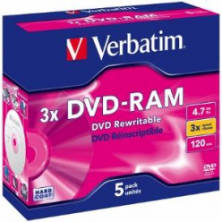 VERBATIM DVD-RAM 120 min. / 4.7GB 3x 5-pack jewelcase DataLife Plus, scratch resistant surface