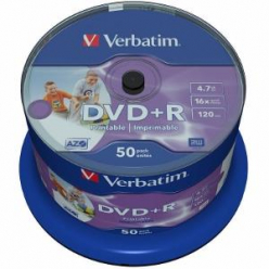 VERBATIM 43512 Verbatim DVD+R cake box 50 4.7GB 16x do nadruku Wide Photo