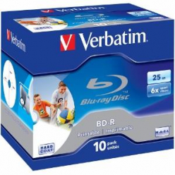 VERBATIM 43713 Verbatim BluRay BD-R jewel case 10 25GB 6x PRINTABLE SURFACE HARD COAT
