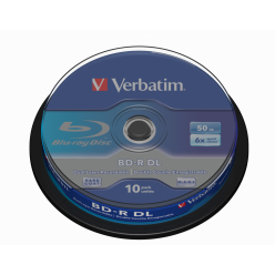 VERBATIM 43746 BluRay BD-R DUAL LAYER Verbatim Spindle 10 50 GB 6x