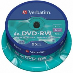 VERBATIM 43639 Verbatim DVD-RW [ spindle 25 4,7GB 4x ]