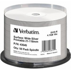 VERBATIM 43645 Verbatim DVD-R spindle 50 4.7GB 16x do nadruku wide silver
