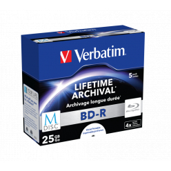 VERBATIM 43823 Verbatim BluRay M-DISC BD-Rjewel case 5 25GB 4x Inkjet Printable