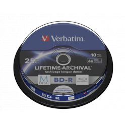 VERBATIM 43825 Verbatim BluRay M-DISC BD-R   Spindle 10 25GB 4x Inkjet Printable