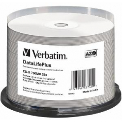VERBATIM 43745 Verbatim CD-R   spindle 50 700MB 52x white wide printable