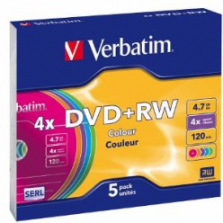 VERBATIM 43297 Verbatim DVD+RW   slim jewel case 5 4.7GB 4x Colour