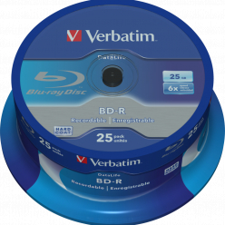 VERBATIM 43837 BluRay BD-R Single layer DATALIFE VerbatimSpindle 25 25GB 6x