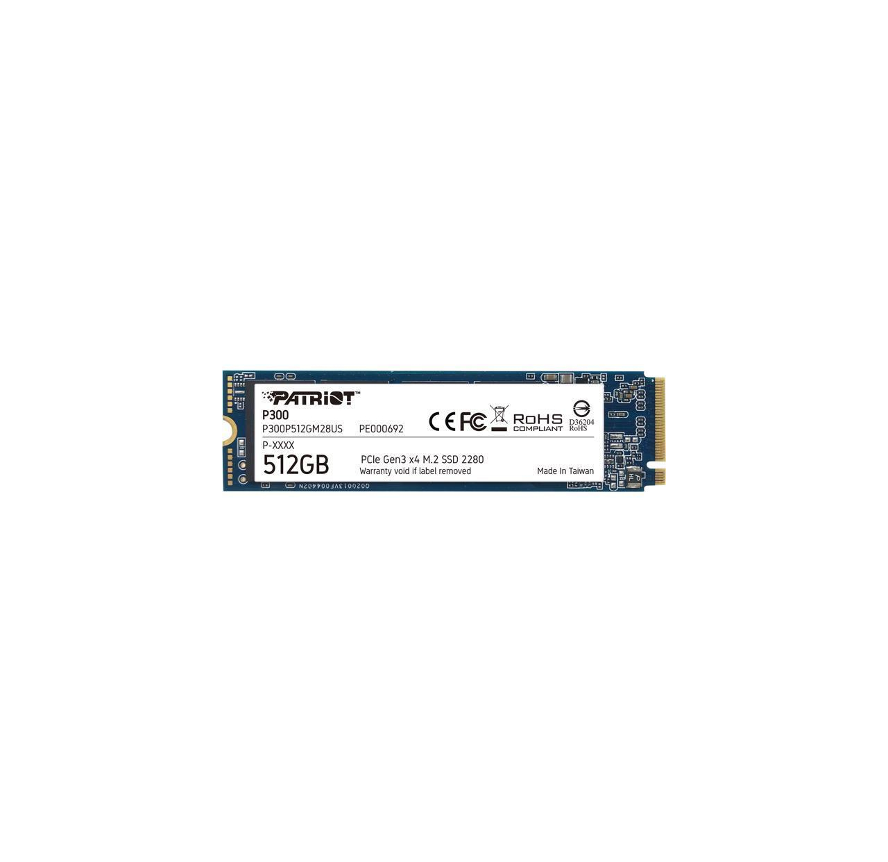 Dysk SSD Patriot P300 512GB M.2 2280 PCIE Gen3 x4 NVMe 1700MBs/1100MBs Phison E13T