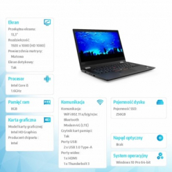 Laptop Lenovo ThinkPad X380 Yoga 13.3'' FHD MT i5-8250U 8GB 256GB W10Pro 1YR CI