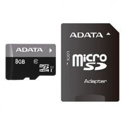 ADATA karta pamięci micro SDHC 8GB Class 10  UHS-I  +  Adapter (Video Full HD)*