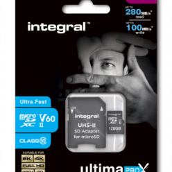 Karta pamięci Integral microSDXC 280-100MB UHS-II V60 + SD Adapter, 128GB