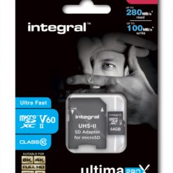 Karta pamięci Integral microSDXC 280-100MB UHS-II V60 + SD Adapter, 64GB