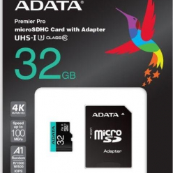 Karta pamięci ADATA 32GB Premier Pro MICROSDHC, R/W up to 100/80 MB/s, with Adapter