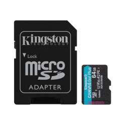 Karta pamięci Kingston 64GB microSDXC Canvas Go Plus 170R A2 U3 V30 Card + ADP
