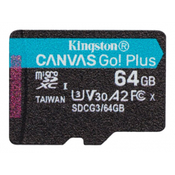 Karta pamięci KINGSTON 64GB microSDXC Canvas Go Plus 170R A2 U3 V30 Single Pack w/o ADP