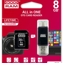 GOODRAM Karta Pamięci micro SDHC 8GB All in one Class 10 UHS I + czytnik type-C