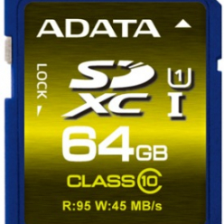 ADATA karta pamięci SDXC UHS-1 U1 64GB (R/W 95/45MB/s - Video Full HD/3D)