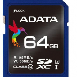 ADATA Premier Pro SDXC UHS-I U3 64GB (R/W 95/60MB/s - Video Full HD/3D)