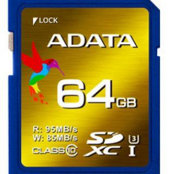 ADATA XPG SDXC UHS-I U3 64GB (R/W 95/85MB/s - Video Full HD/3D/2K/4K)