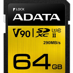 Karta pamięci ADATA 64GB Premier ONE SDXC UHS-II U3 Class 10, R/W up to 290/260 MB/s