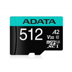 Karta pamięci ADATA 512GB Premier Pro MICROSDXC, R/W up to 100/80 MB/s, with Adapter