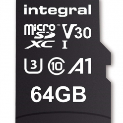 Integral 64GB MICRO SDXC 70V30, R:100MB/s W:70MB/s U3 V30 + ADAPTER
