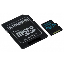 Kingston 128GB microSDXC Canvas Go 90R/45W U3 UHS-I V30 Card + SD Adapter