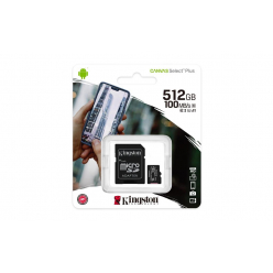 Karta pamięci Kingston 512GB micSDXC Canvas Select Plus 100R A1 C10 Card + ADP